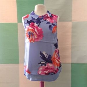 JOULES Blue Floral Flower Top Size 6 Preppy Spring